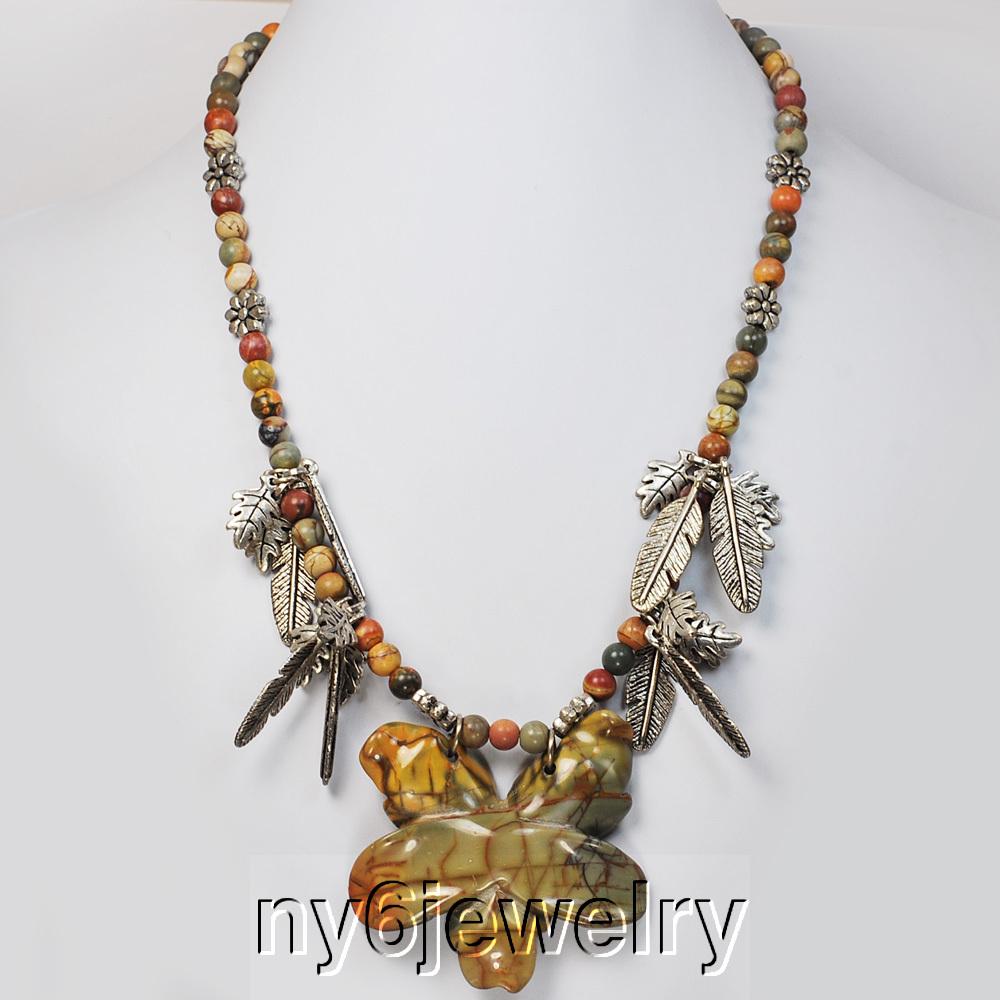 Picasso Jasper amp Large Pendant Silver Necklace 18